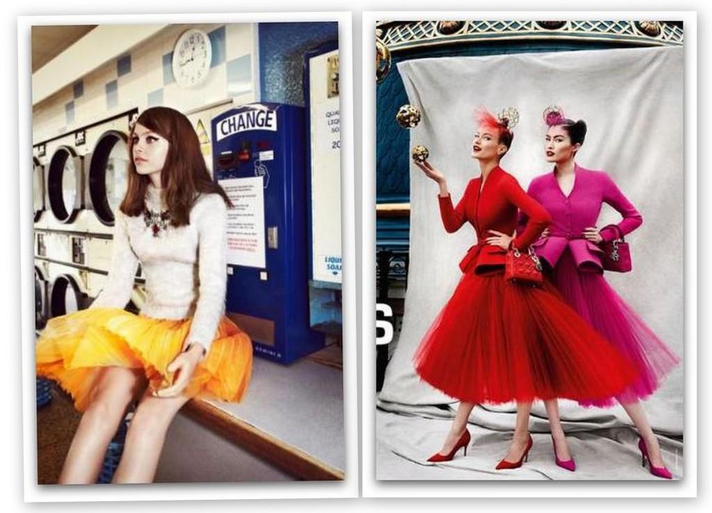 Falda de tul en amarillo y faldas de tul de Dior