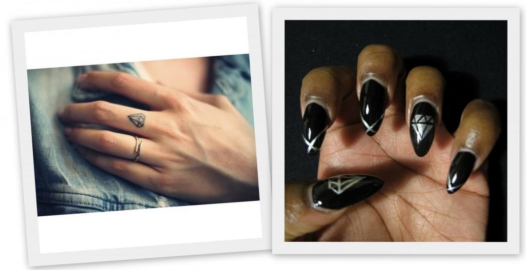 diamantes tatuados o decorados en manicura