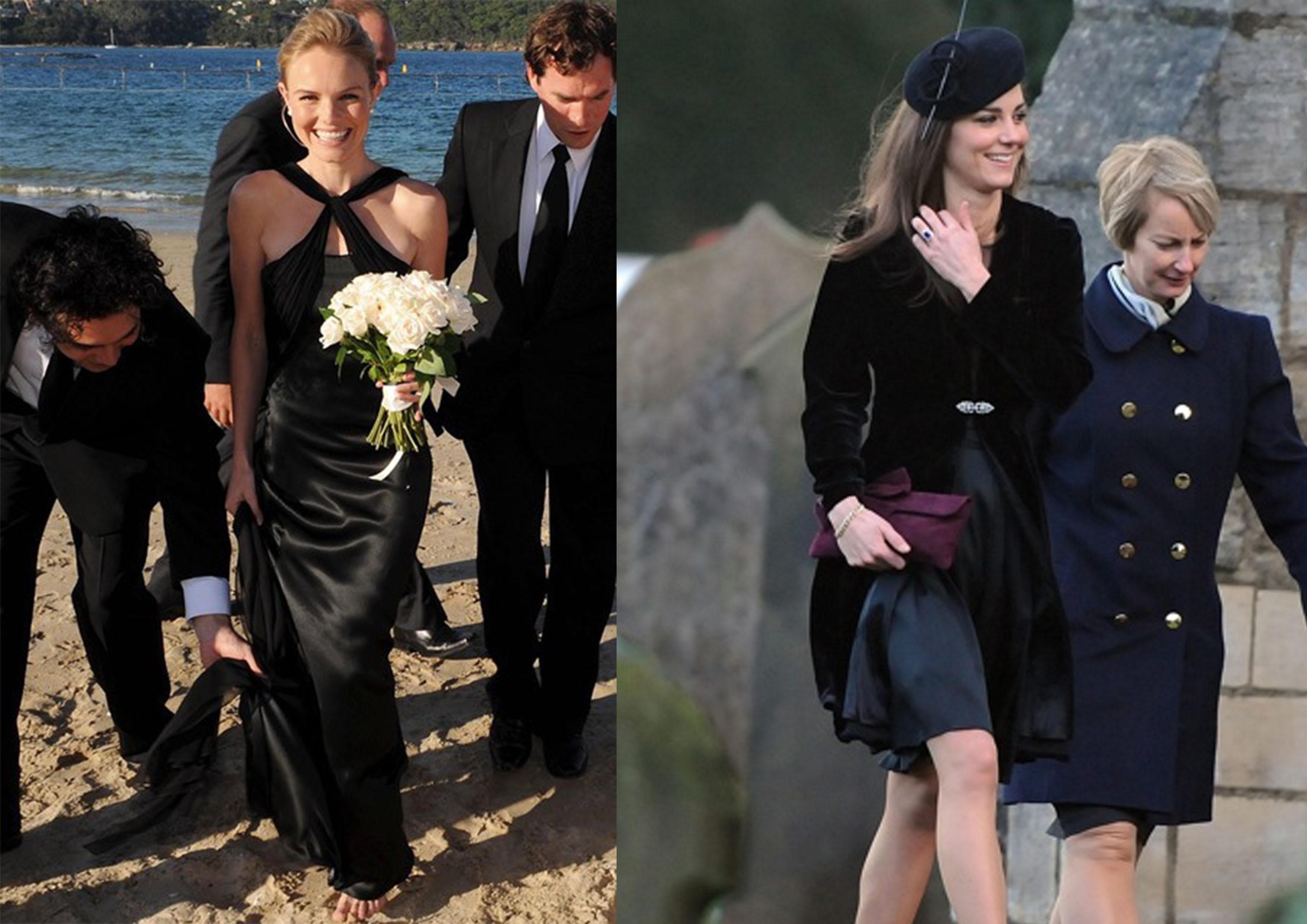Vestido de negro de la boda