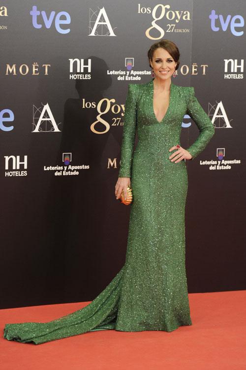 paula echevarria con vestido verde