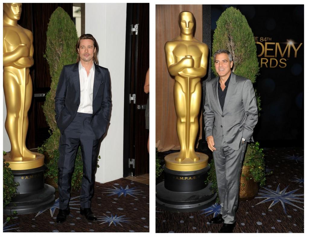 Brad Pitt y George Clooney almuerzo nominados al oscar 2013