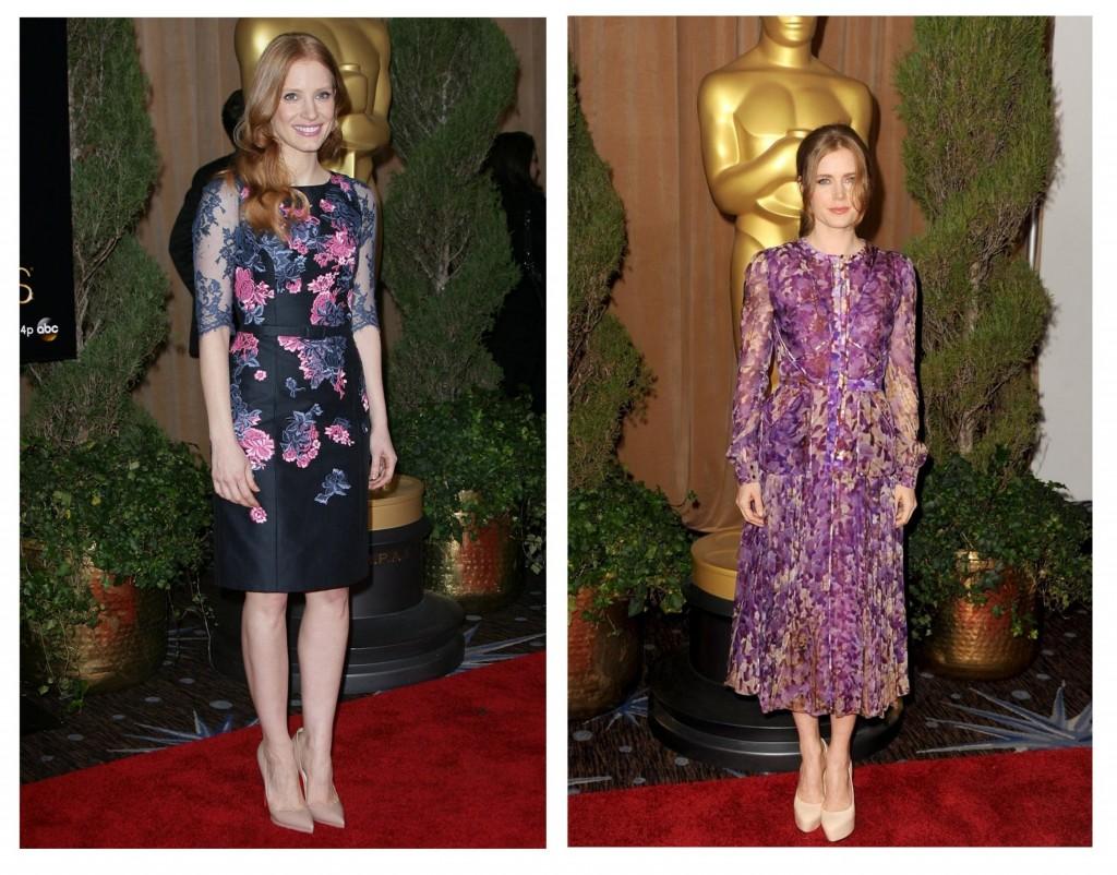 Jessica Chastain y Amy adams en el almuerzo de los nominados a los oscars
