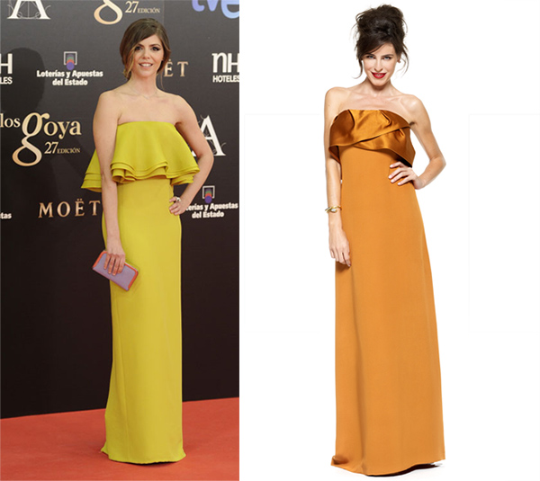 manuela escoge un vestido muy elegante mostaza