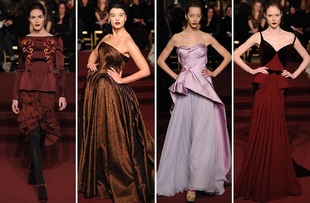 los vestidos de zac posen muy marcados en cintura