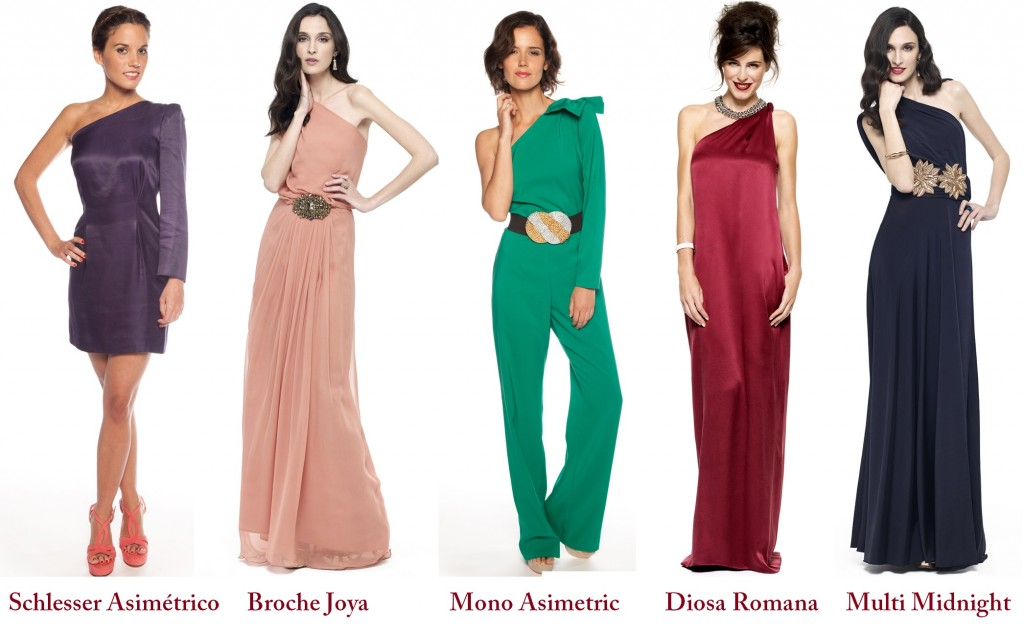 vestidos de escote asimetrico