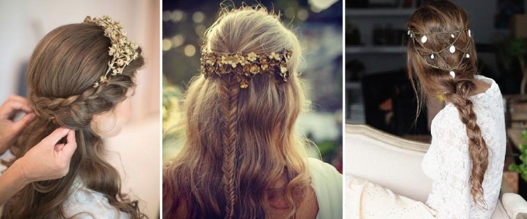 peinado de trenzas con adornos dorados