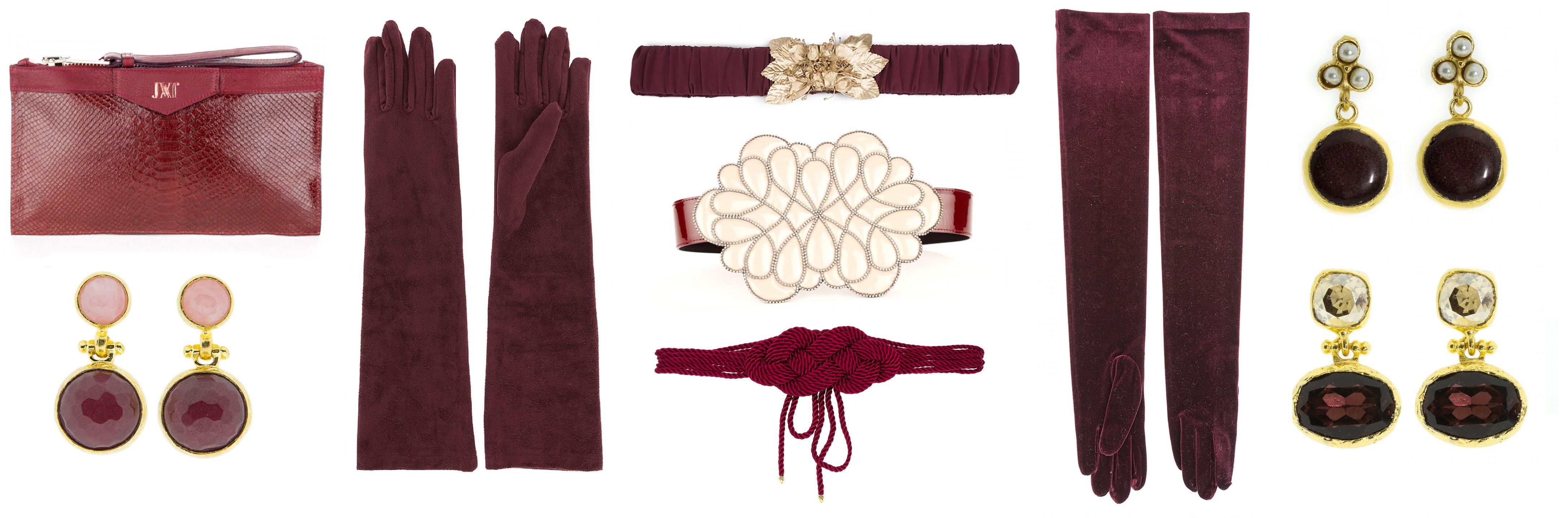 accesorios color burdeos marsala burgundy www.lamasmona.com