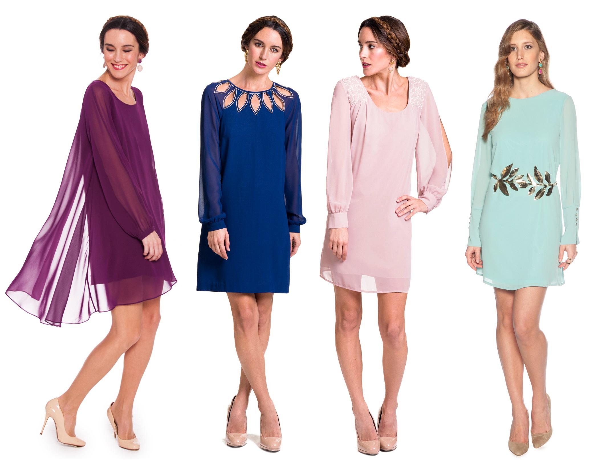 vestido recto de manga larga de lamasmona.com