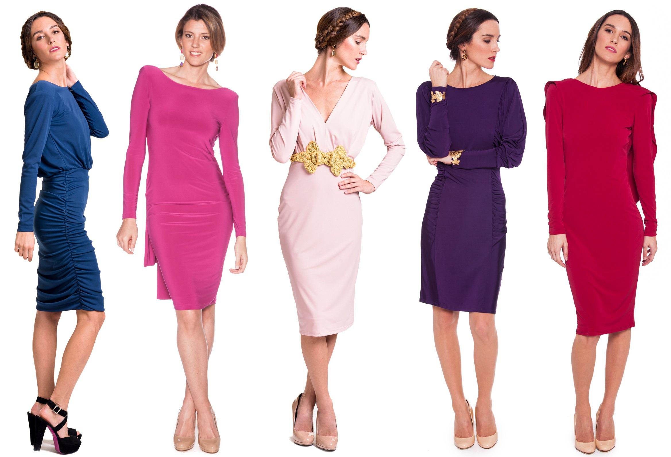 vestidos de manga larga de punto elástico de lamasmona.com