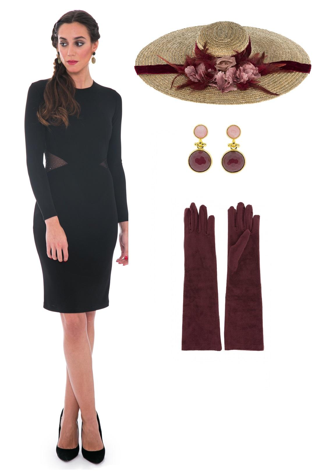 invitada con vestido negro y complementos burdeos de lamasmona.com