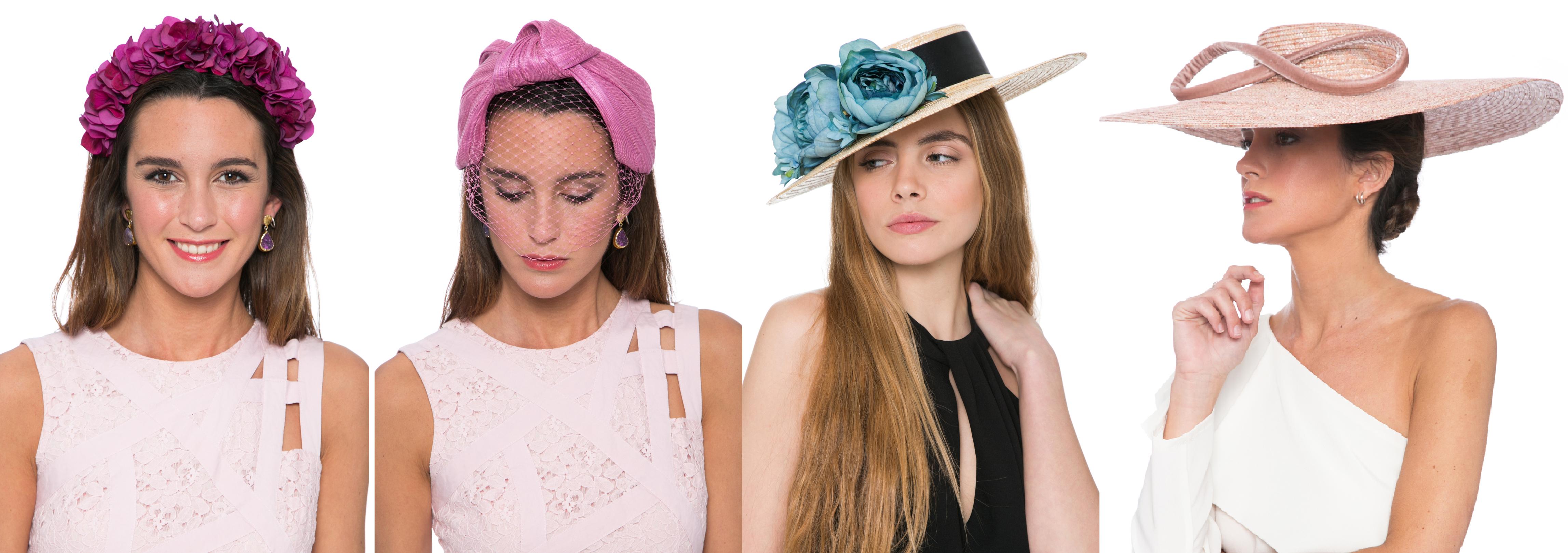 tocados de alquiler en lamasmona.com corona de flores, turbante, canotier y pamela