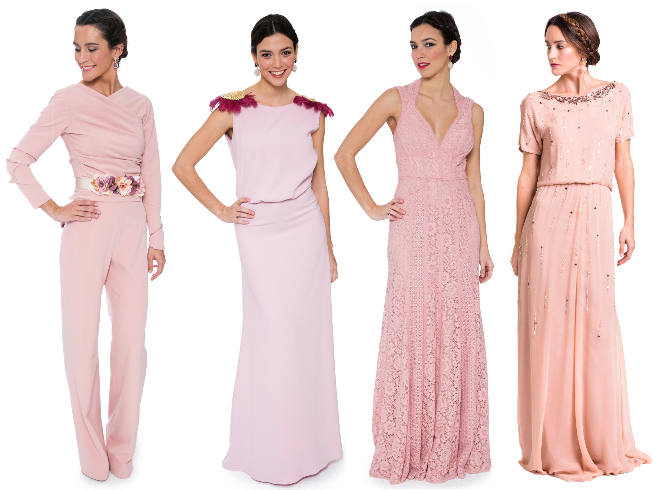 vestidos de fiesta largos color rosa cuarzo de lamasmona.com