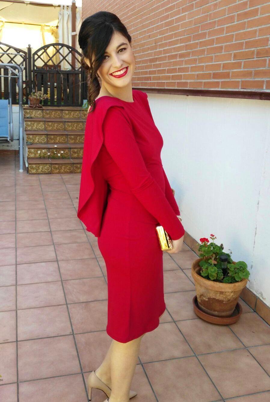 invitada con vestido rojo de lamasmona.com