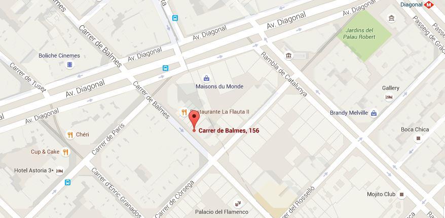 Localización tienda Barcelona de La Mas Mona.com