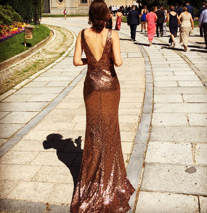 vestido bronze pronovias